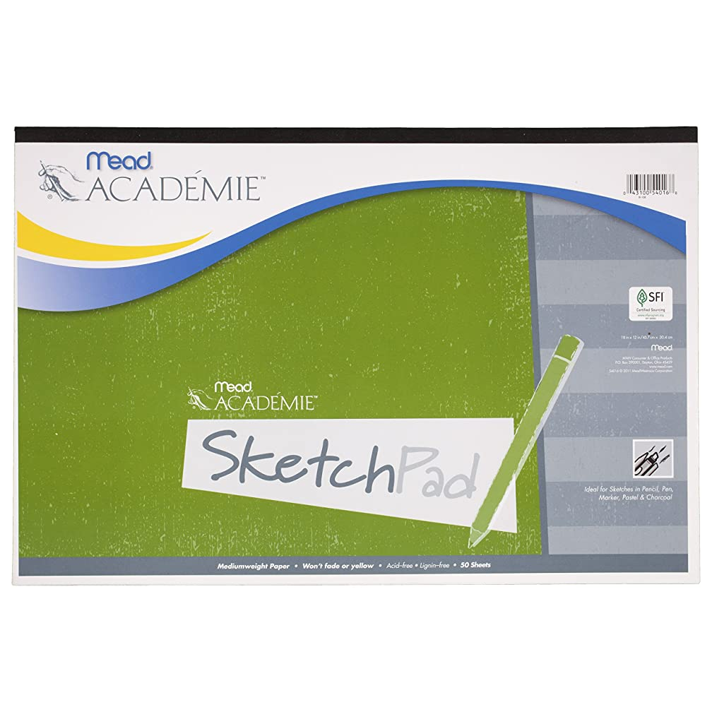 Mead Académie Sketchbook / Sketch Pad, 50 Sheets, 18 x 12 Inch Sheet Size (54016)
