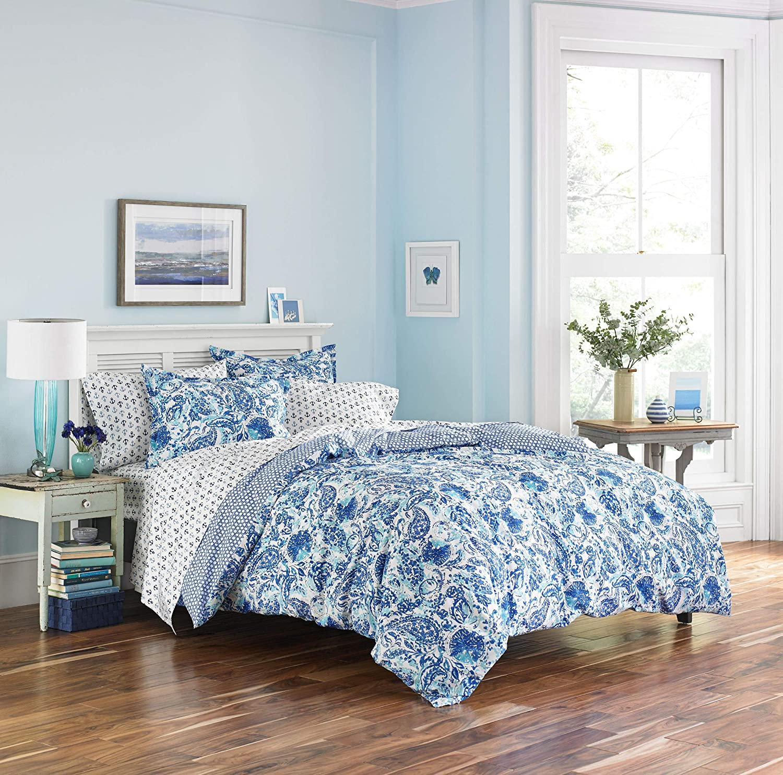 Poppy & Fritz Brooke Cotton Comforter Set, King, bluee