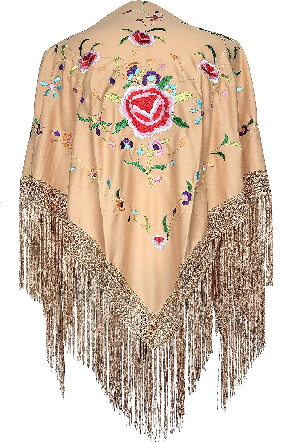 La Senorita Spanish Flamenco Dance Shawl beige with colord flowers