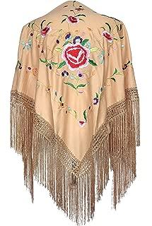 La Señorita Mantones bordados Flamenco Manton de Manila beige flores de colores