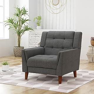 Christopher Knight Home Evelyn Mid Century Modern Fabric Arm Chair, Dark Gray, Walnut