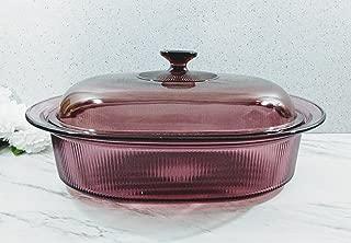 Pyrex Corning Cranberry 4 Quart Qt Set Ribbed Dutch Oven Roaster Pan Dish With Glass Lid
