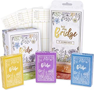 Let's Play Bridge | Complete Classic Card Game & Scorecard Bundle Set | 6 Unique Colorful Decks | Includes 100 Scorecards for Couples Game Night and Competitive Family Fun