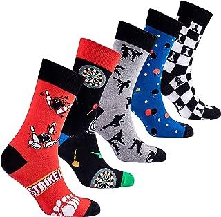 Mens 5pair Luxury Colorful Cotton Fun Novelty Dress Socks Gift Box