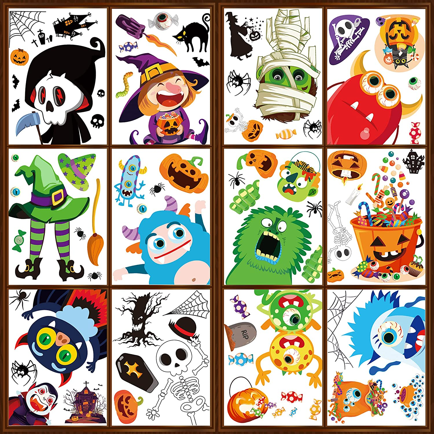 Mocoosy 12 Fixed price for sale Sheets Halloween New life Window Decor Clings Glass for