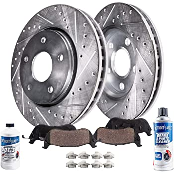 Detroit Axle Replacement for Drilled & Slotted 302mm Front Brake Kit Rotors & Brake Pads w/Clips Hardware & Brake Cleaner & Fluid Town & Country for Select Dodge and VW Mini-Van/SUV Models