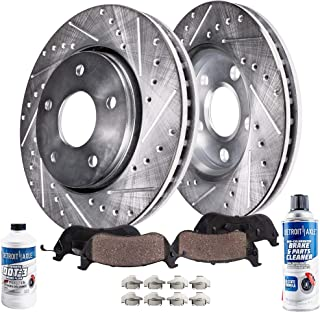 Detroit Axle - Pair (2) Front 260MM Drilled and Slotted Brake Rotors w/Ceramic Pads w/Hardware & Brake Cleaner & Fluid for 1997-2000 Subaru Legacy - [1997-2001 Subaru Impreza] - Models w/Rear Drum