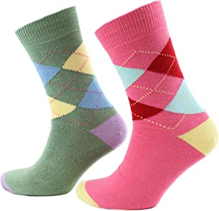 Viyella 2 Pair Pack Made in England Argyle Intarsia Cotton Socks - Pink & Green