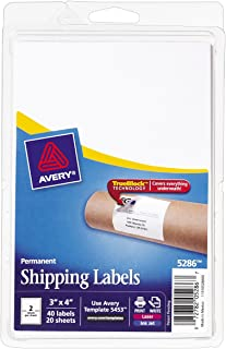 """Avery Shipping Labels with TrueBlock Technology, 3"""" x 4"""", Pack of 40 (5286), White"""