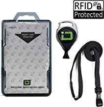 ID Stronghold Secure Badgeholder Duolite - RFID Blocking 2 Card ID Badge Holder with Lanyard and Retractable Reel - PIV, CAC and Work Cards - Heavy Duty Plastic Badge Protector - FIPS 201 Approved