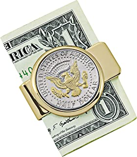 Selectively Gold-Layered Presidential Seal JFK Half Dollar Stainless Steel Coin Money Clip