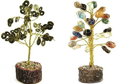 ESHOPPEE Vastu Feng Shui Coin Wealth with Tumble Tumbbled Stone Gemstone Tree