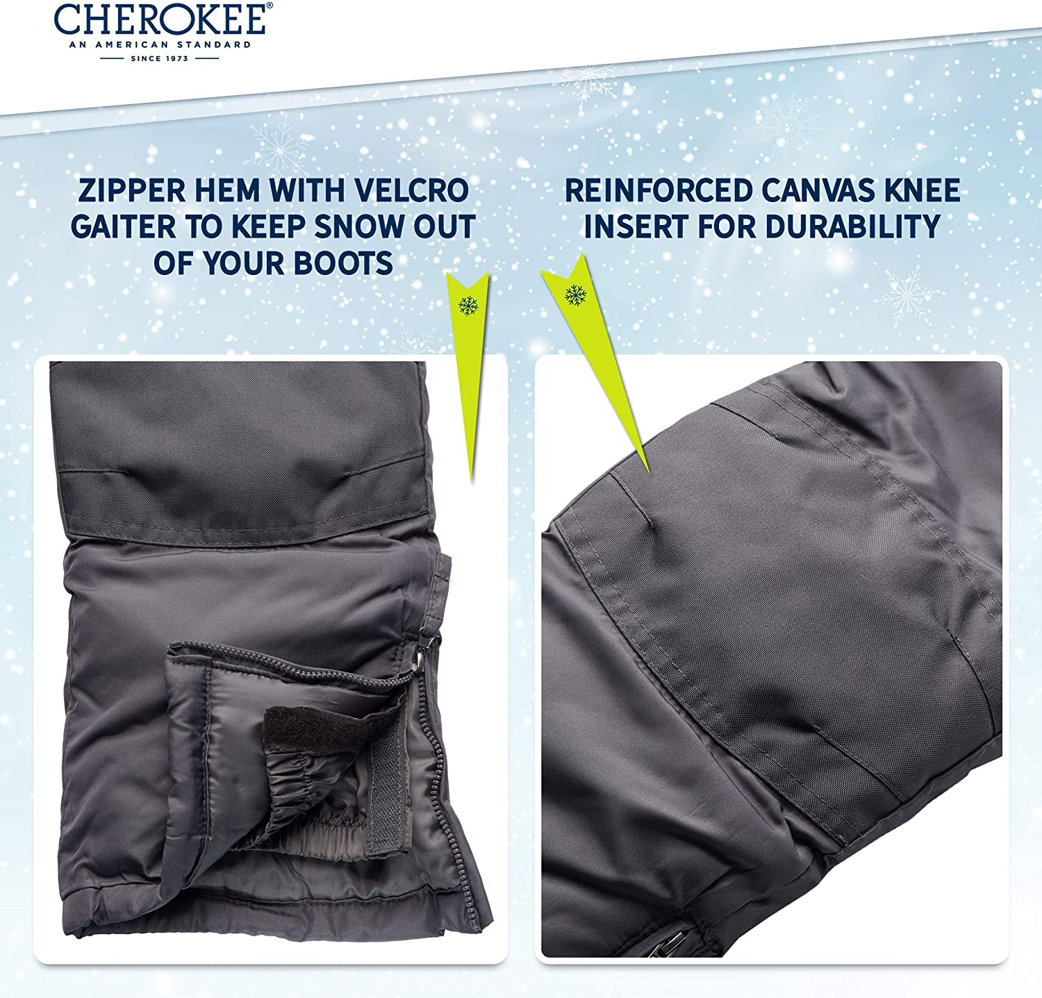 CHEROKEE Boys and Girls Snow Pants Insulated Heavyweight Water-Resistant Ski Pant