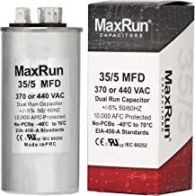 MAXRUN 35+5 MFD uf 370 or 440 Volt VAC Round Dual Run Capacitor for Air Conditioner or Heat Pump - Runs AC Motor and Fan –...