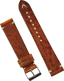 B & R Bands 22mm Cognac Classic Vintage Italian Leather Watch Band Strap - Medium Length