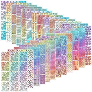 Hicarer 288 Pieces Nail Vinyl Stencils Nail Art Decoration Stickers Set Nail Art Design Stickers Tips Decals, 24 Sheets