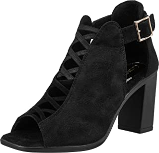 Catwalk Women's Peep Toe Criss Cross Booties