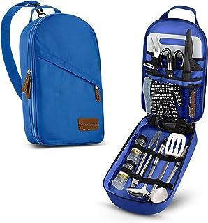 Wealers Camp Kitchen Utensil Organizer Travel Set Portable BBQ Camping Cookware Utensils Travel Kit Water Resistant Case|C...