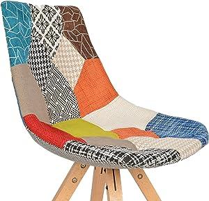 ts-ideen Sedia Poltroncina stile retró anni '50 in legno di faggio rivestito in tessuto motivo forme multitrama