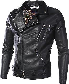 DAVID.ANN Men's Classic Faux-Leather Biker Zipper Jacket Coat