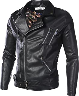 DAVID.ANN Men's Classic Faux-Leather Biker Zipper Jacket Coat