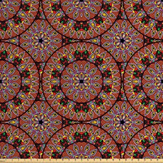 Ambesonne Bohemian Fabric by The Yard, Colorful Round with Floral Details Traditional Peruvian Motifs, Decorative Fabric for Upholstery and Home Accents, 3 Yards, Coral