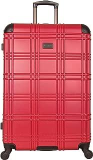 Ben Sherman Nottingham 28-inch Check-Size Lightweight Durable Hardshell 4-Wheel Spinner Upright Luggage, Red