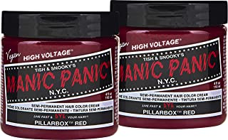Manic Panic Pillarbox Red Hair Color Cream (2-Pack) Classic High Voltage - Semi-Permanent Hair Dye - Vivid, Red Shade - For Dark, Light Hair – Vegan, PPD & Ammonia-Free - Ready-to-Use, No-Mix Coloring