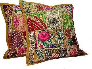 ANJANIYA - 2 fundas de patchwork para cojín decorativo con lentejuelas y bordado indio (hecho a mano con hilo de algodón), 45,7 x 45,7 cm, algodón, caqui, 18 x 18 inch
