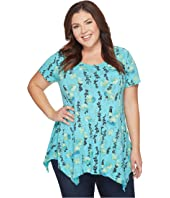 Extra Fresh by Fresh Produce Plus Size Floral Vines Vintage Drape Tee
