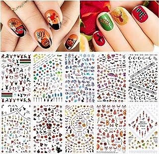 Konsait Halloween Thanksgiving Christmas Nail Stickers, 10 Sheets Mixed Festival Self Adhesive Nail Decals, Pumpkin Spider...