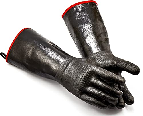 RAPICCA BBQ Oven Gloves 14 Inches,932℉,Heat Resistant-Smoker, Grill, Cooking Barbecue Gloves, for Handling Heat Food ...