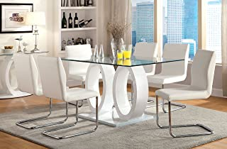 Furniture of America Quezon 7-Piece Glass Top Double Pedestal Dining Set, White