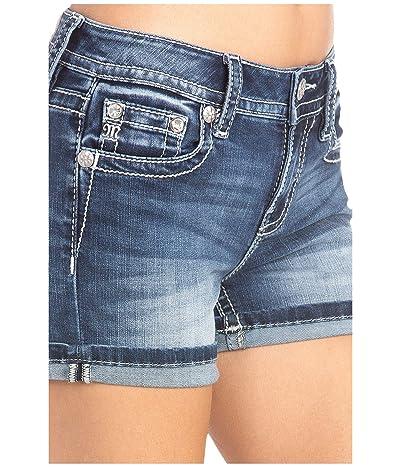 Miss Me Embellished Single Cuff Shorts (Dark Blue) Women