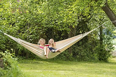"""BYER OF MAINE Paradiso Hammock, Authentic Brazilian,Naturalesa, Recycled Cotton/Polyester Blend, Double, 142"""" L x 68&#34"""