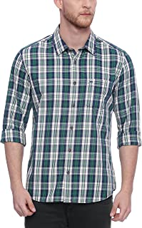 BASICS Slim Fit Pine Green Checks Shirt