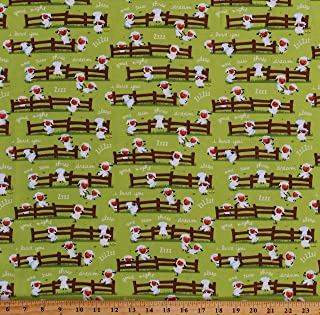 Flannel Counting Sheep Farm Animals Fence Sleep Dreams Harmony Farm Kids Children's Green Cotton Flannel Fabric Print by The Yard (D273.09)