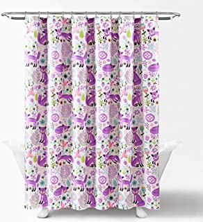 "Lush Decor Pixie Fox Shower Curtain-Fabric Floral Animal Print Design, x 72"", Purple and Pink, Purple & Pink"