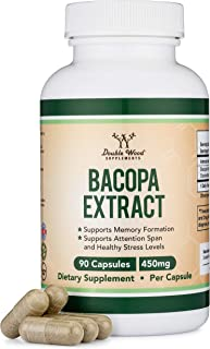 Bacopa Monnieri Capsules – 450mg, 90 Count (Made in USA) Non-GMO, Gluten Free, Concentrated 20% Bacosides Brahmi Extract b...