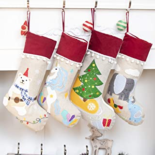 Beyond Your Thoughts New Burlap Christmas Stocking Set of 4 (Extra Large) Embroidered Linen Christmas Ornament Family Decorations (17.5 inch)