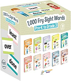 Little Champion Reader 1,000 Sight Fry Dolch Word-List Flashcards in 10-Pack Bundle Set, Pre-K to 3rd Grade, Teaches 1,000...