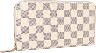 Napal Swiss Women's Checkered Zip Around Wallet and Phone Clutch - RFID Blocking with Card Holder Organizer -Genuine Leather