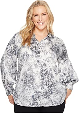 Vince Camuto Specialty Size - Plus Size Long Sleeve Speckle Atmosphere Button Down Blouse