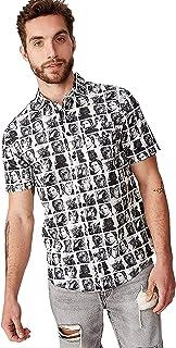 Cotton On Men's Collaboration Short Sleeve Shirt, Starwars Faces