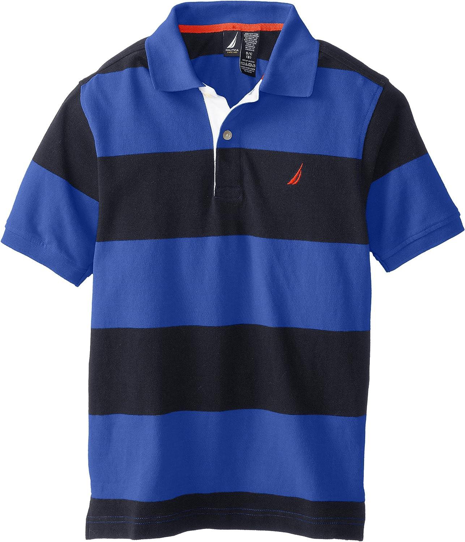 Nautica Boys' Short Sleeve Striped Pique Polo Shirt