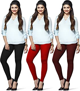 LUX LYRA Women's Ankle Length Leggings (Black, Red and Maroon, Free Size) - Pack of 3