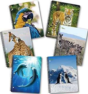 NEW GENERATION – Fashion Wild Life Animals - Spiral Notebooks, Wide Ruled 1 Subject 70 Sheets, 8 x 10.5 Inches, 3 Hole Punch Perforated Sheets – 6 Pack Set Great for School, Home,