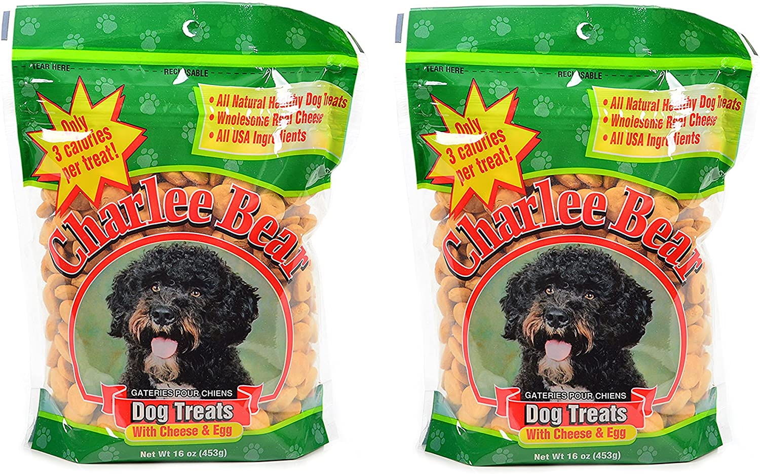 Charlee Bear Dog Treat with Cheese & Egg (2 Pack) 16 oz Each