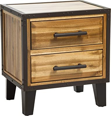 Christopher Knight Home Lina Acacia Wood Two Drawer Night Stand, Natural Stained