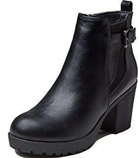 Women's Chelsea Bootie Elastic Panel Slip On Round Toe Chunky Heel Ankle Boots